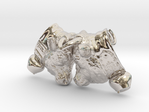 Swiss cow fighting #A - 25mm high in Rhodium Plated Brass
