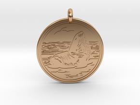 Sea Lion Animal Totem Pendant in Polished Bronze