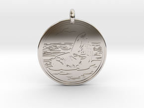 Sea Lion Animal Totem Pendant in Rhodium Plated Brass