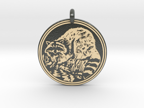 Raccoon Animal Totem Pendant in Glossy Full Color Sandstone