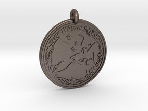 Raven Animal Totem Pendant in Polished Bronzed-Silver Steel