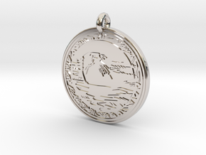 Sea Otter Animal Totem Pendant in Rhodium Plated Brass