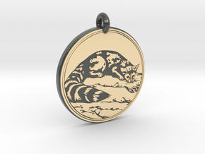 Ring tail Animal Totem Pendant in Glossy Full Color Sandstone