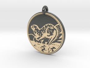 River Otter Animal Totem Pendant in Glossy Full Color Sandstone
