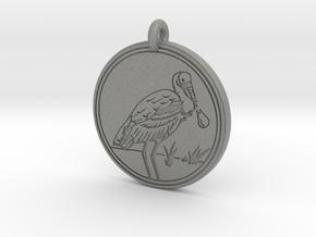 Roseate Spoonbill Animal Totem Pendant in Gray PA12