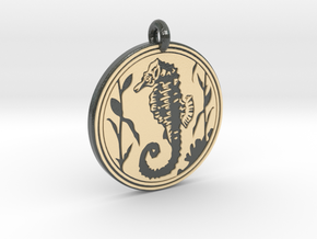 Sea Horse Animal Totem Pendant in Glossy Full Color Sandstone