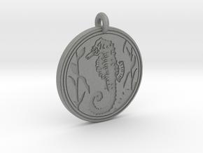 Sea Horse Animal Totem Pendant in Gray PA12