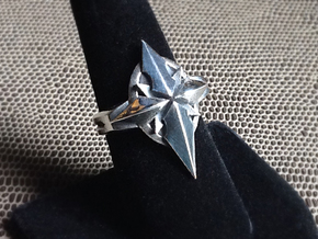 North Star Cross Ring - Size 8 (18.14 mm) in Polished Silver