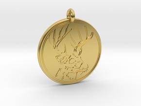 Whitetail Deer Animal Totem Pendant 2 in Polished Brass