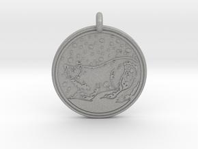 Snow Leopard Animal Totem Pendant in Aluminum