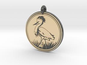 Snowy Egret Animal Totem Pendant  in Glossy Full Color Sandstone