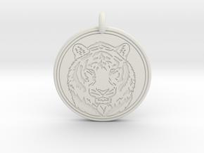 Tiger Animal Totem Pendant 2 in White Premium Versatile Plastic