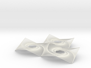 Hexagon Spiral Line Illusion V2 Tessellated Lines in White Natural Versatile Plastic