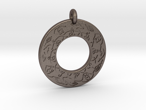 Celtic horse Annulus Donut Pendant in Polished Bronzed-Silver Steel