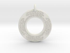 Celtic Cross Annulus Donut Pendant in White Natural Versatile Plastic