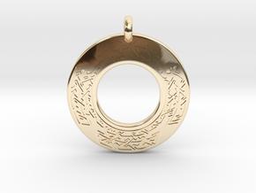 Celtic Cross Annulus Donut Pendant in 14K Yellow Gold