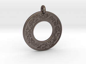 Celtic Fish Annulus Donut Pendant in Polished Bronzed-Silver Steel