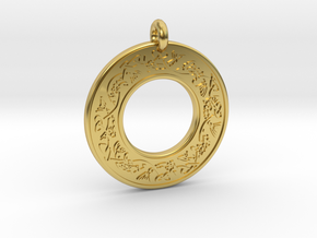 Celtic Fish Annulus Donut Pendant in Polished Brass