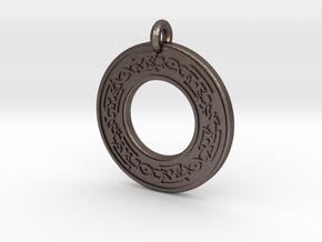 Celtic Snake serpent Annulus Donut Pendant in Polished Bronzed-Silver Steel