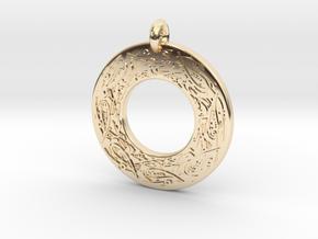 Celtic Birds Annulus Donut Pendant in 14K Yellow Gold