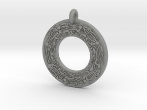 Celtic Birds Annulus Donut Pendant in Gray PA12