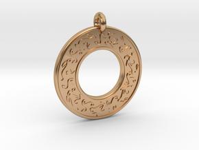 Celtic hare Rabbit Annulus Donut Pendant in Polished Bronze