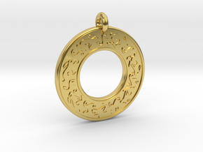 Celtic hare Rabbit Annulus Donut Pendant in Polished Brass