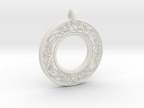 Devine Couple  Annulus Donut Pendant in White Natural Versatile Plastic