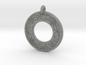 Celtic Dog Annulus Donut Pendant in Gray PA12