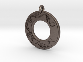 Dragon Annulus Donut Pendant in Polished Bronzed-Silver Steel