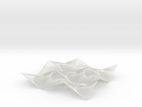 Square Spiral Line Illusion V3 Tessellated Lines in White Natural Versatile Plastic