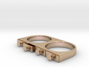 4-Drawer Ring, Open in 14k Rose Gold Plated Brass