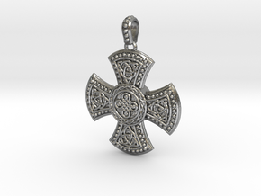 Celtic cross with trinities in Natural Silver