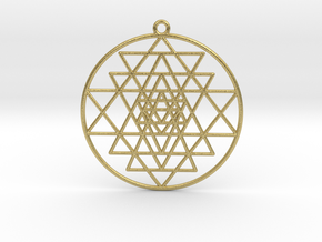 "Sri Yantra Pendant Optimal 2"" Pendant in Natural Brass"