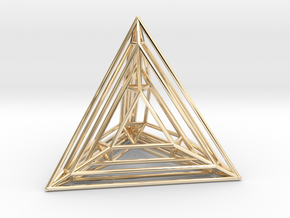 Tetrahedron Experiment in 14k Gold Plated Brass