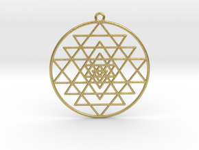 "Sri Yantra Pendant Symmetrical  2"" in Natural Brass"