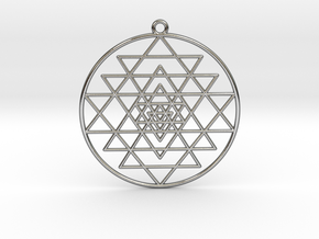 Sri Yantra Pendant Symmetrical  in Polished Silver