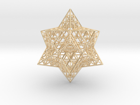 """Stellated Vector Equilibrium w/Triforce Faces 2.2"""" in 14K Yellow Gold"""
