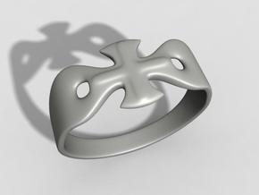 Cross ring US11 in Polished Bronzed Silver Steel