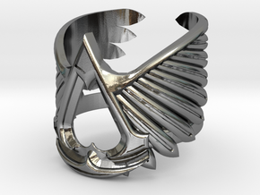 AC ring - full sizes (14 to 22) in Polished Silver: 3 / 44