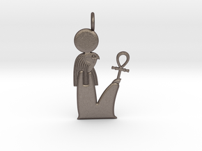 Ra / Re amulet in Polished Bronzed-Silver Steel