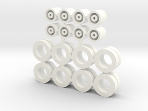 1/87 Low Bed Trailer Tire in White Processed Versatile Plastic