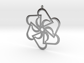 Six Hearts pendant in Polished Silver
