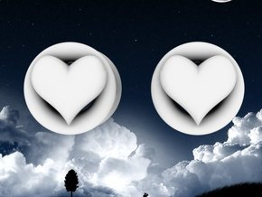 Heart 8mm (0 gauge) tunnels in White Processed Versatile Plastic