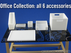 Office Collection 6-piece 1:12 scale accessories in White Strong & Flexible Polished