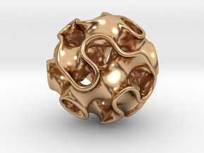 GYROID Sphere Pendant in Polished Bronze: Small