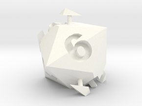 d6 sphericon in White Processed Versatile Plastic