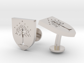 LOTR White Tree Of Gondor Cufflinks in Rhodium Plated Brass