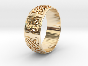 Habesha  Ring Size=18mm in 14k Gold Plated Brass