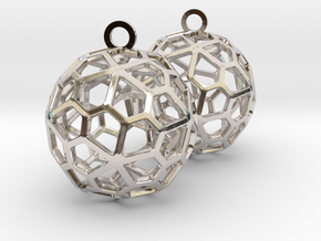 Pentagonal Hexecontahedron Earrings in Rhodium Plated Brass